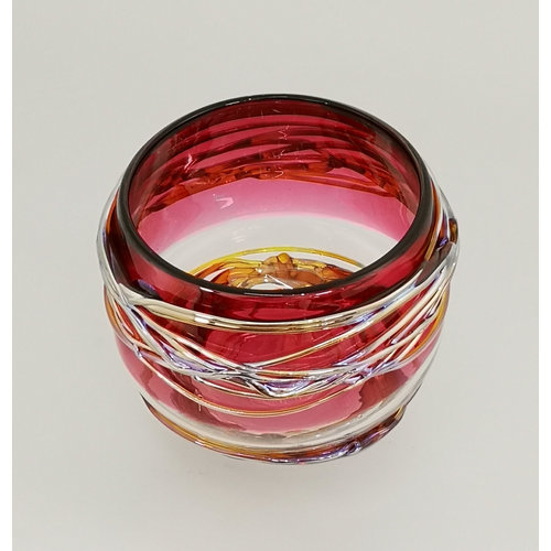Allister Malcolm Glass Rose and Gold Trailing Bowl 25