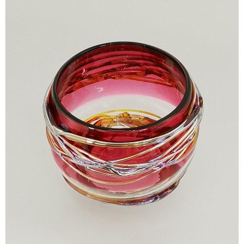 Allister Malcolm Glass Trailing Bowl in roze en goud 25