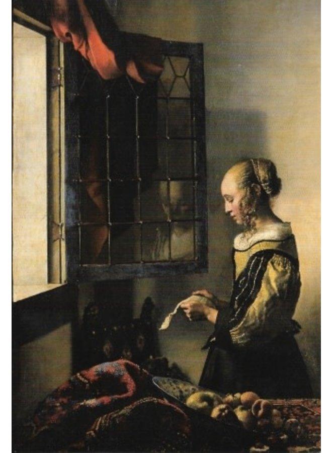 Mädchen liest einen Brief von Vermeer140x 180mm Karte