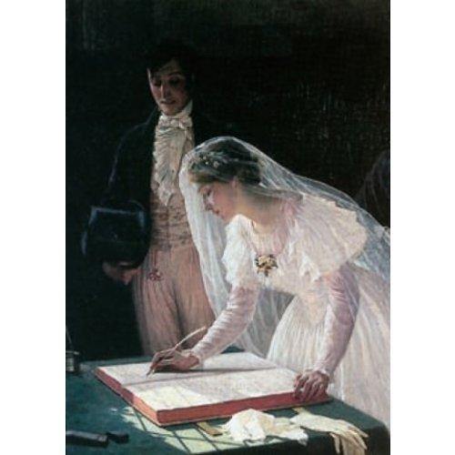 Artists Cards Ondertekening van het register door Edmond Blair Leighton 140 x 180 mm kaart