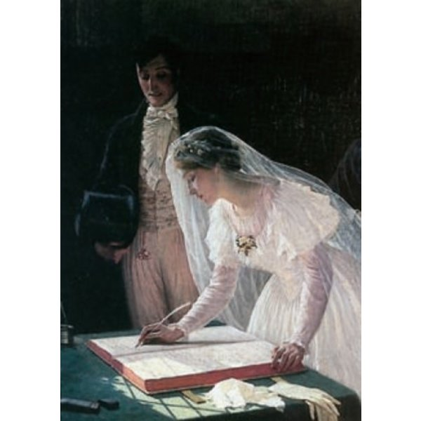 Ondertekening van het register door Edmond Blair Leighton 140 x 180 mm kaart