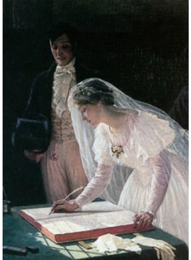 Unterzeichnung des Registers durch Edmond Blair Leighton 140 x 180 mm Karte