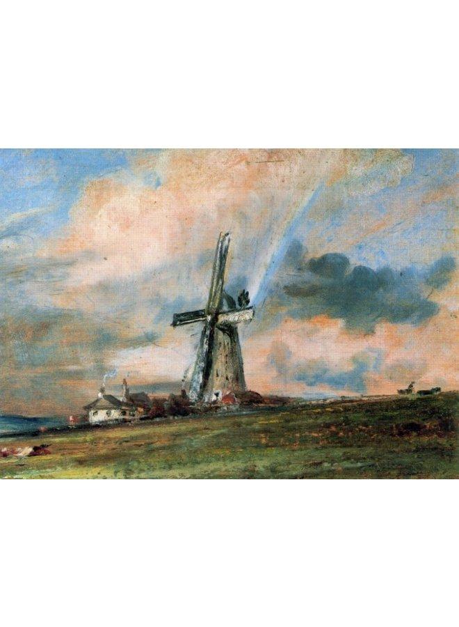 Windmühle unter den Häusern von Constable 180x 140mm Karte