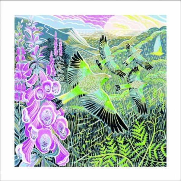 Foxgloves & Finches door Annie Soudain 140 x 140 mm kaart