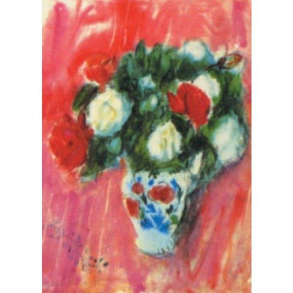 Rode en witte rozen door Anne Redpath 140 x 180 mm kaart