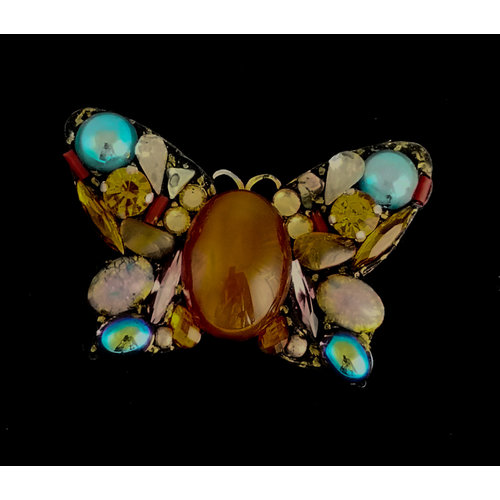 Annie Sherburne Amber centre Butterfly Large  Brooch 212