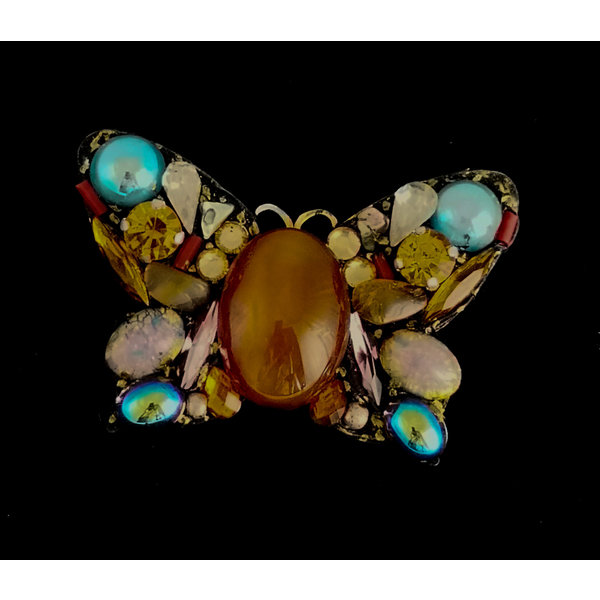 Amber centre Butterfly Large  Brooch 212
