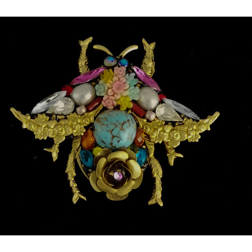 Annie Sherburne Bee Large Brooch with turquoise  201