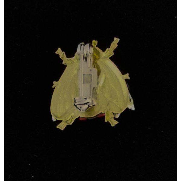 Kleine broche met bijen oranje vleugel 217
