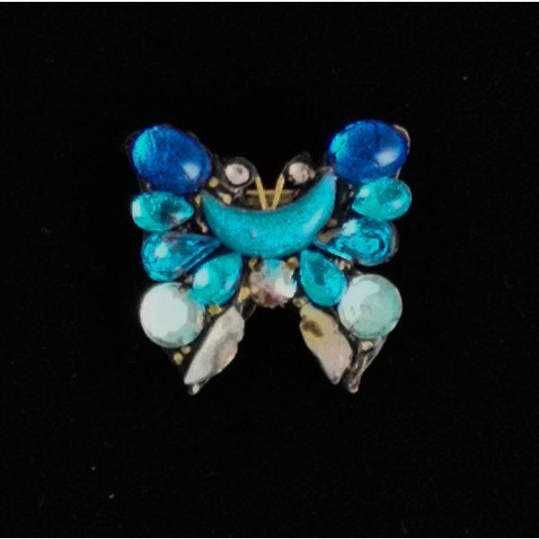 Kleine broche met blauwe vleugelvlinder 214