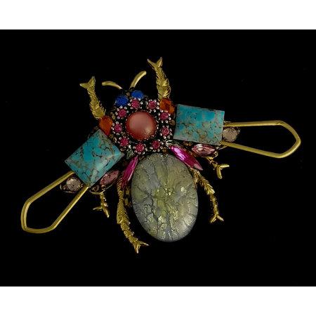 Annie Sherburne Bug grote broche met roze centrum 203