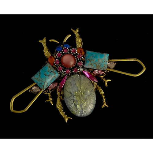 Annie Sherburne Bug Large Brooch with pink centre  203