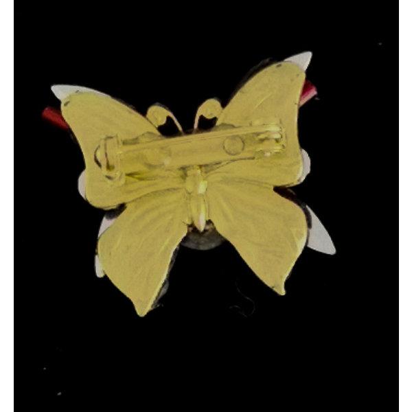 Kleine broche met paarse vleugelvlinder 213