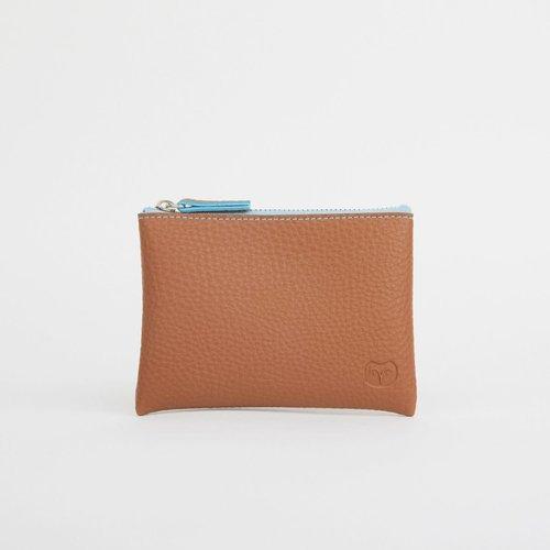 goodeehoo Coin purse Tan with blue zipper  044