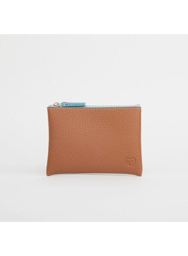 Geldbörse Tan mit blauem Reißverschluss 044