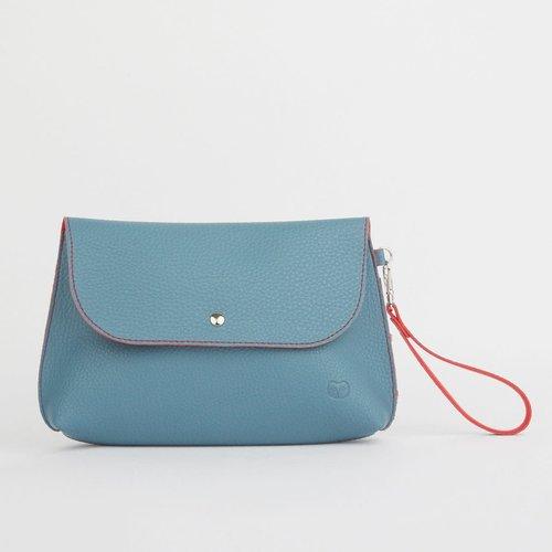goodeehoo Dusky Clutch Bag Teal and Orange 048