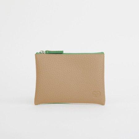 goodeehoo Sandy Beige portemonnee met groene rits 043