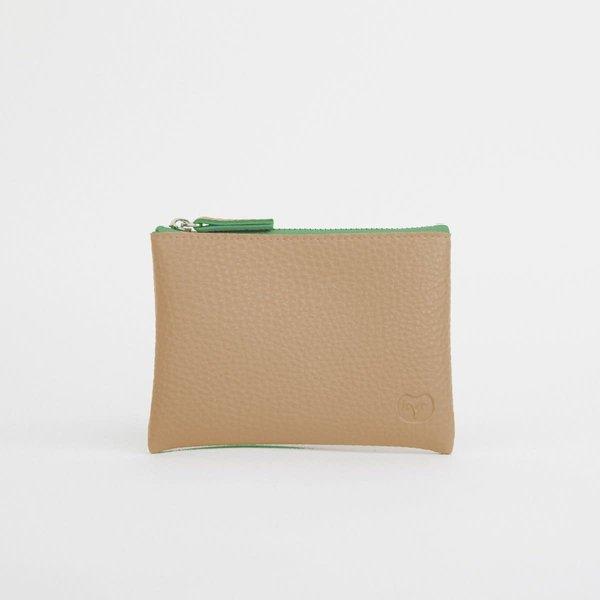 Sandy Beige portemonnee met groene rits 043