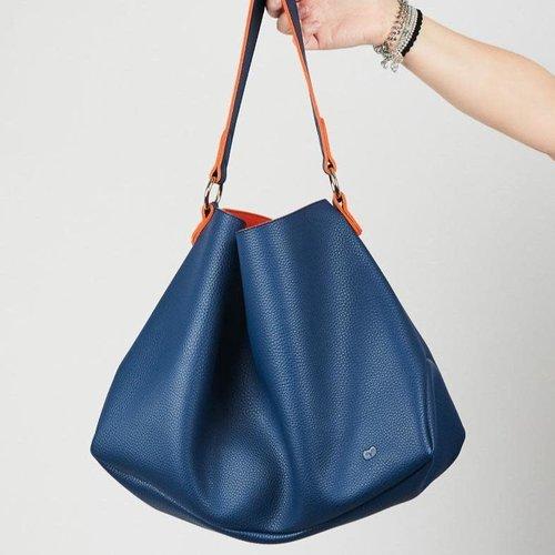 goodeehoo Slouch Bag Navy and Orange   045