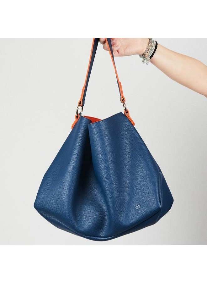 Slouch Bag Navy und Orange 045
