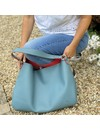 Slouch Bag Teal and Red  046