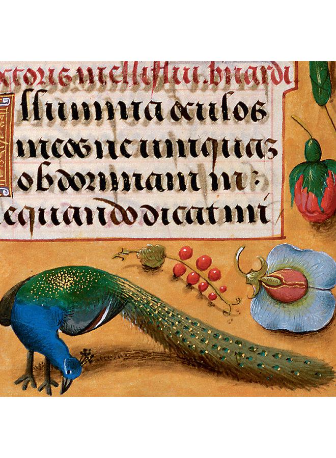 Pfau auf Blumen Boarder Stundenbuch 1490 Karte