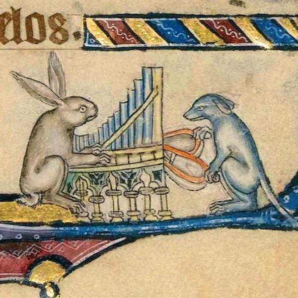 Konijn en hond spelen de detailkaart van het orgel