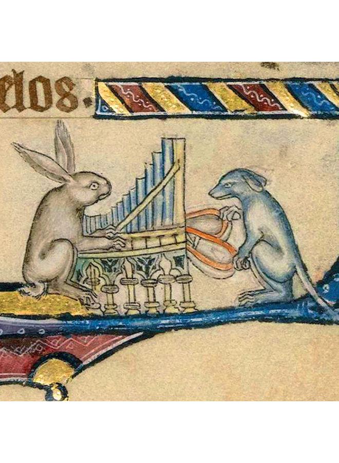 Kaninchen und Hund, die die Orgel-Detailkarte spielen