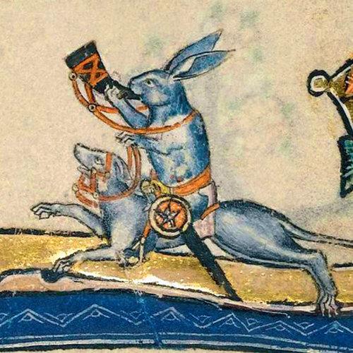Fitzwilliam Museum Lapin chevauchant un chien Détail Macclesfield Psalter 1330Card