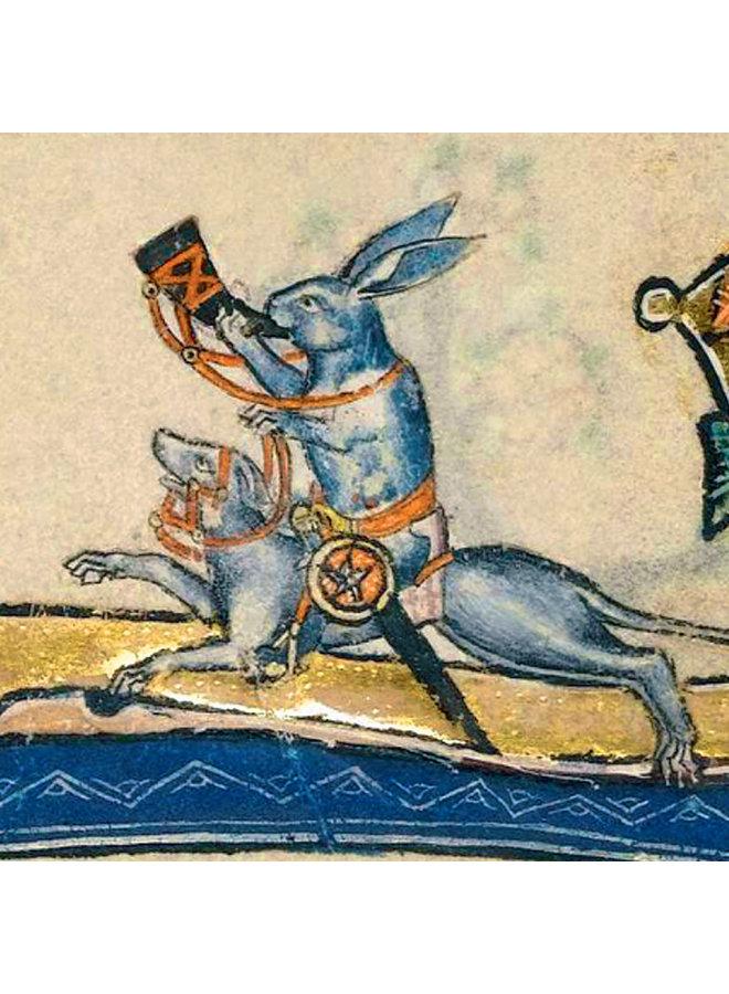 Kaninchen reitet einen Hund Detail Macclesfield Psalter 1330Card