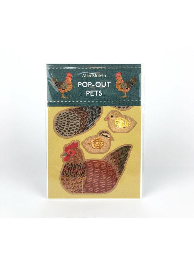 Chicken Pop-Out Karte von Alice Melvin
