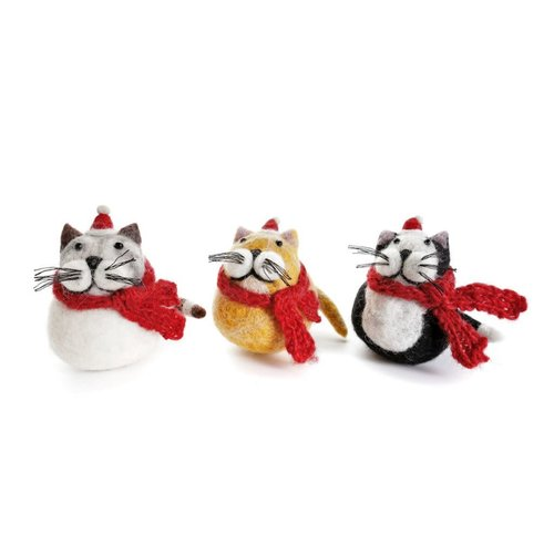Amica Accessories Fat Cat Black, Grey, Ginger Felt Decoration 127 each