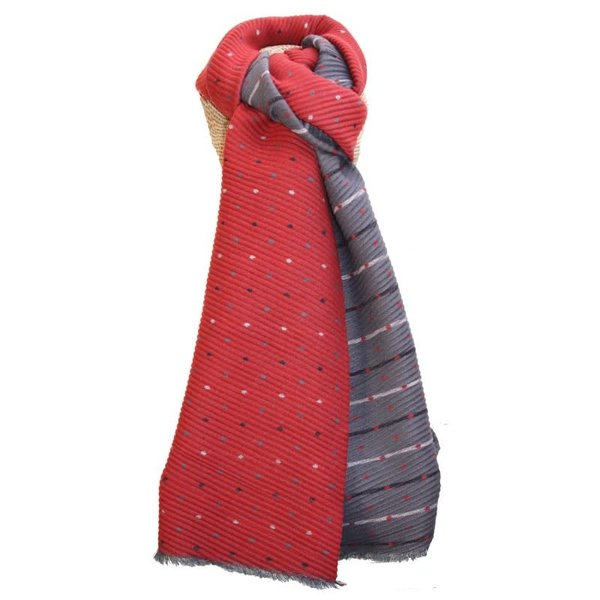 Pleated Tiny Dot Reversable scarf Red and Grey 249