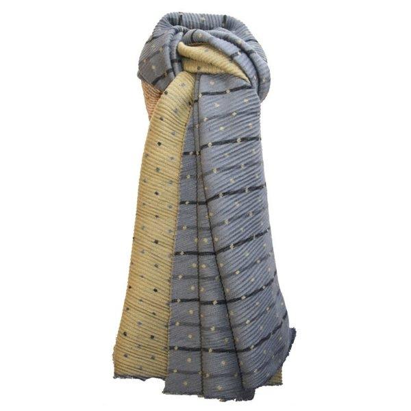 Geplooide Tiny Dot omkeerbare sjaal Mosterd en grijs 250