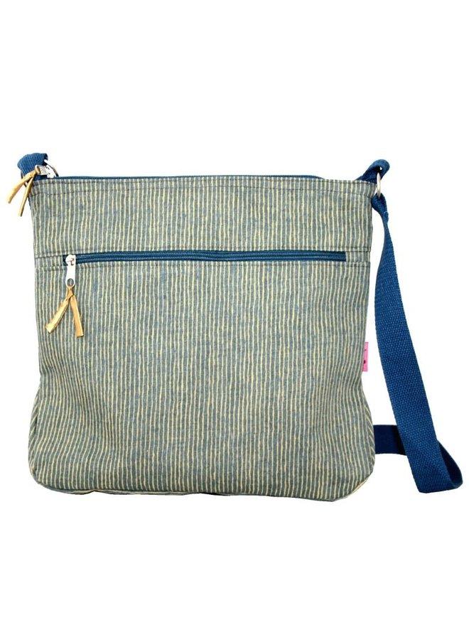 Große gestreifte Messinger Tasche Senf 452