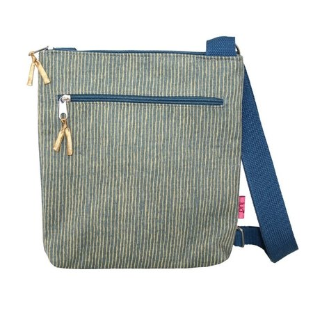 LUA Cross Body Gestreepte Messinger Bag Mosterd 453