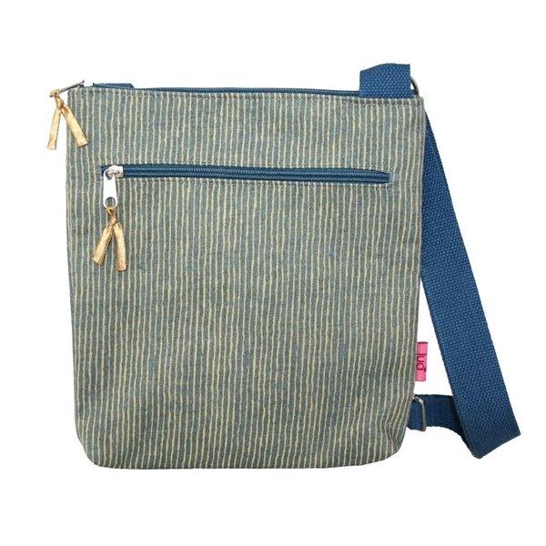 Cross Body Gestreepte Messinger Bag Mosterd 453