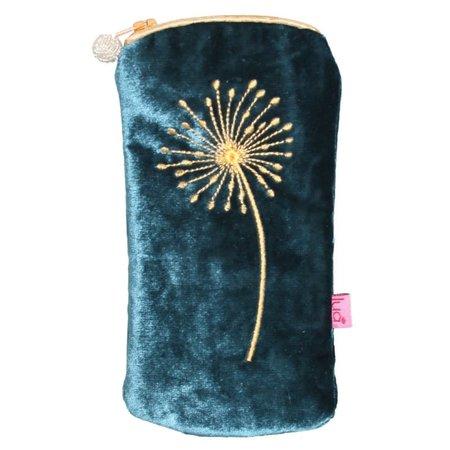 LUA Alliums Bril Portemonnee Fluweel Donker Turquoise 288