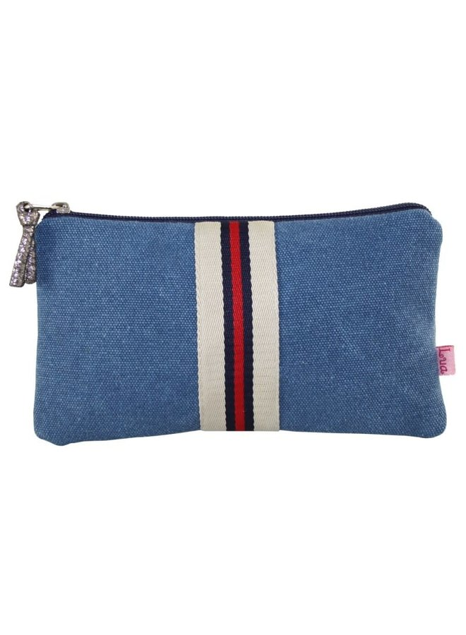 Stripped large  coin purse Petrol 449
