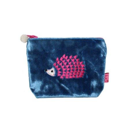 LUA Hedgehog Mini Purse Velvet Blue 293