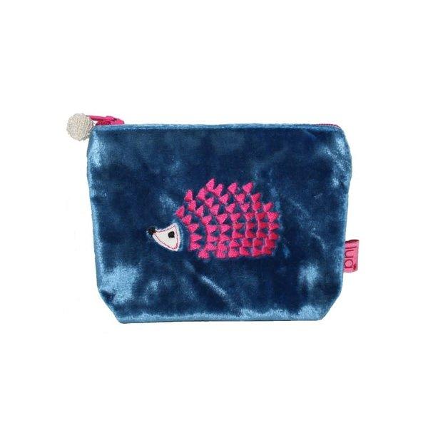 Hedgehog Mini Purse Velvet Blue 293