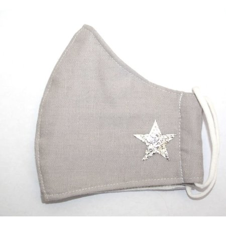 LUA Face Mask Cotton Light Grey with star  295