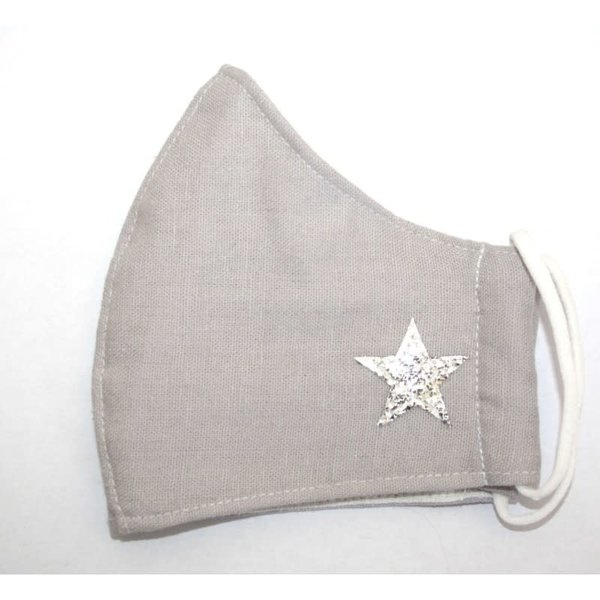Face Mask Cotton Light Grey with star  295