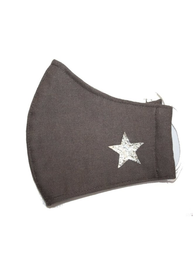 Gesichtsmaske Baumwolle Dunkelgrau mit Stern 296