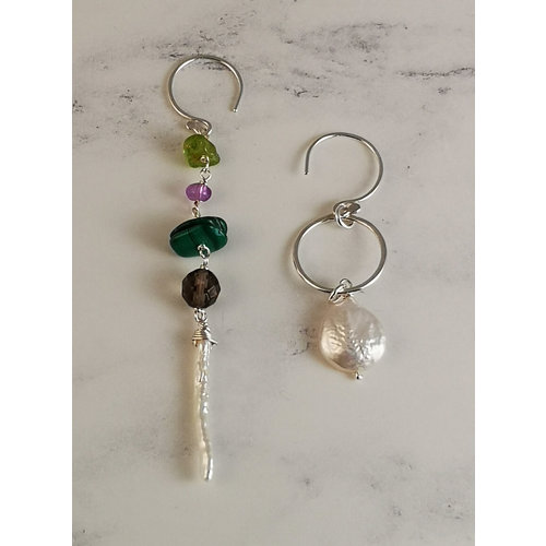 Katherine Bree Magpie Fern semi-precious  and silver earrings 55