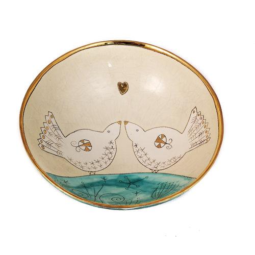 Sophie Smith Ceramics Dos pájaros y corazón con cuenco de cerámica dorada 019
