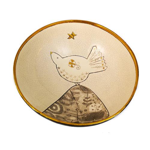Sophie Smith Ceramics Paloma en la colina con cuenco de cerámica y oro estrella 020