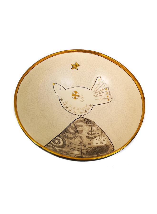 Taube auf dem Hügel mit Star Gold & Keramikschale 020