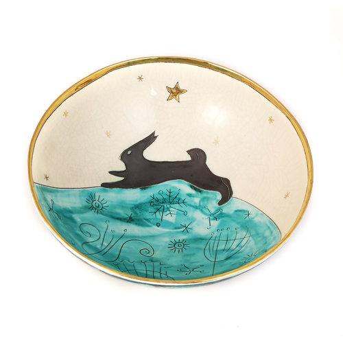 Sophie Smith Ceramics Liebre saltadora con estrella cerámica y cuenco dorado 023