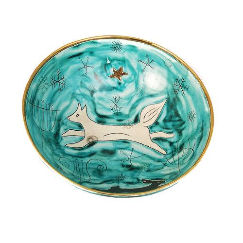 Sophie Smith Ceramics Cuenco de cerámica y oro Fox in Night Sky 024